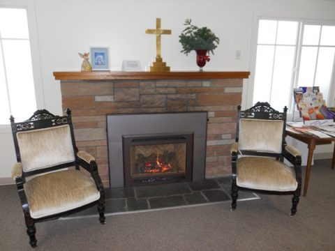 Our gas fireplace insert in the parish hall is wonderful on days like this!