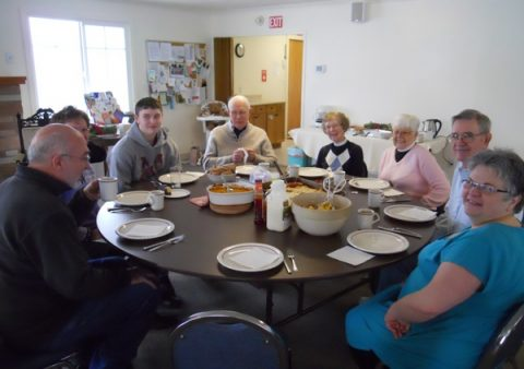 A great meal!  Comfort food--tortellini with beef and sausage, squash, salad, and bread!  And a banana cake and apple pie for dessert!  Left around the table--Kevin, Corby, and Jeff (the Varnesses), John Tennefoss, Rev. Lorraine Dierick (the birthday girl!), Rev. Joyce and Lee (the Averys), Rev. Bonnie Campbell and the empty place (Jim Campbell--the photographer!).