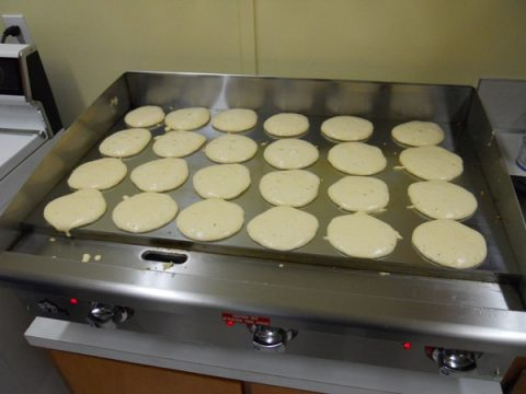 Our new commercial griddle--fully loaded, many times!!